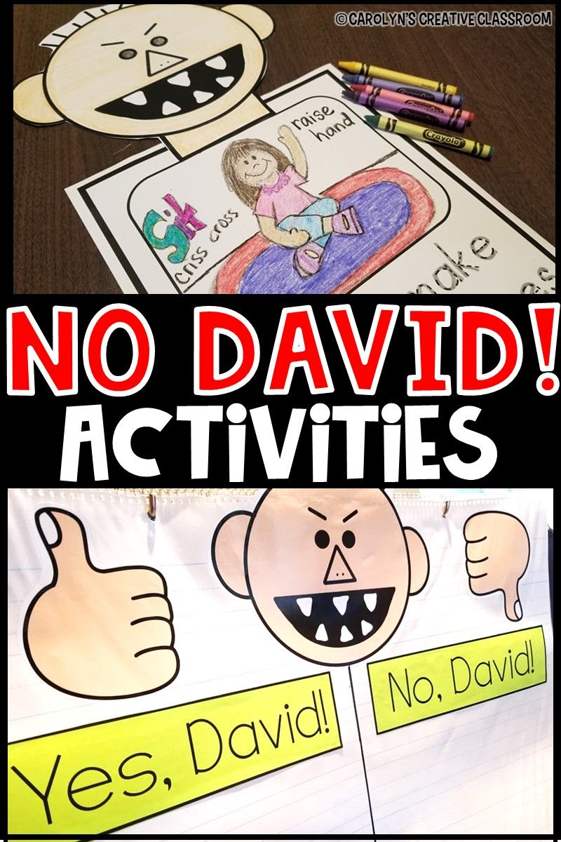 No David Activities, Craft, Anchor Chart & Writing   David