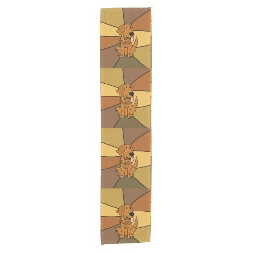 Funny Golden Retriever Dogs Art Table Runners #GoldenRetrievers #dogs #tablerunners #art #funny #abstract And www.zazzle.com/petspower*