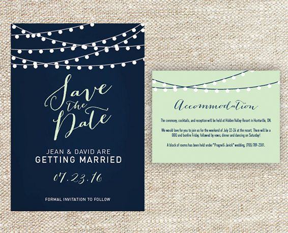 Matching Save The Date And Wedding Invitations: Navy Blue And Mint Green String Light Wedding By