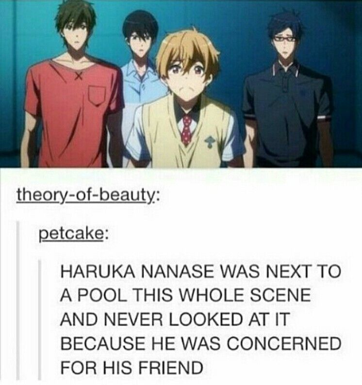 He might be a pool-crazed nutcase sometimes, but no one will ever, EVER, be able to change my mind about the fact that Haruka Nanase is in fact one of the greatest, most caring people in the world with an amazing emotional intelect!