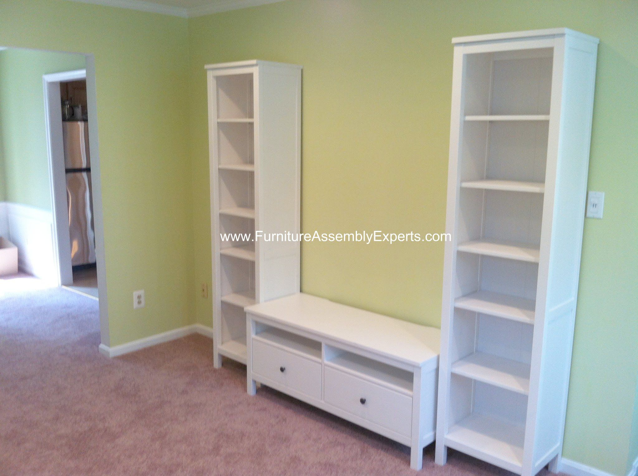 ikea hemnes tv stand and bookcases assembled in chevy chase md by furniture assembly experts llc. Black Bedroom Furniture Sets. Home Design Ideas