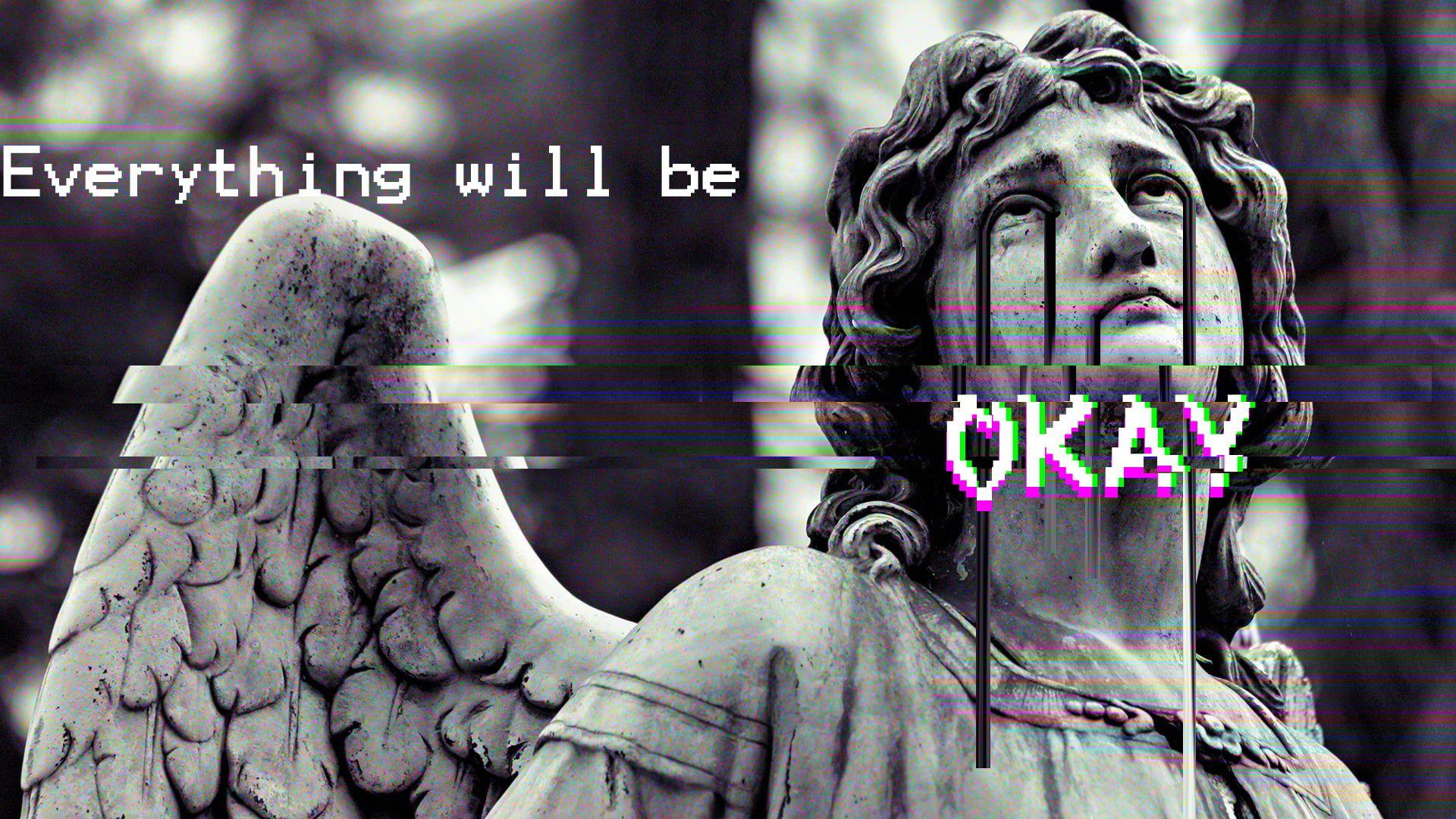 Greek Mythology Vaporwave Statue Glitch Art 1080p Wallpaper Hdwallpaper Desktop Glitch Art Vaporwave Angel Statues Greece aesthetic desktop wallpaper