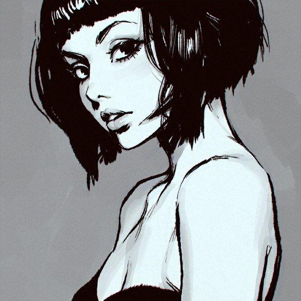 Short Hair Girl Drawing Tumblr Short Bob Hair Poetry Art