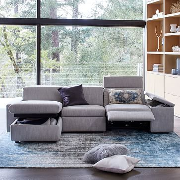 Enzo Reclining 3-Seater Sectional with Left Arm Storage Chaise Set ...