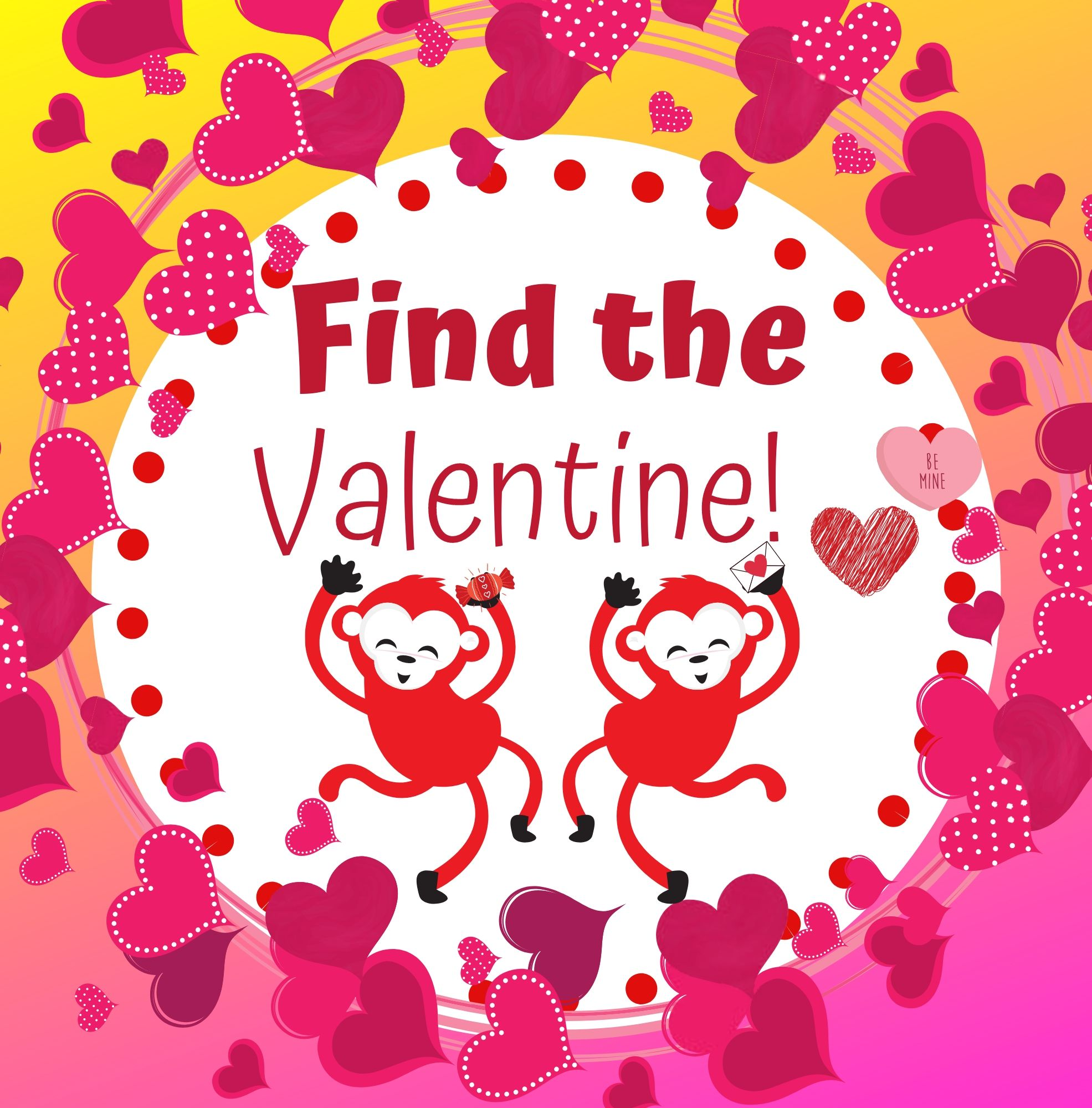Find the valentine, silly ebook for preschool learners