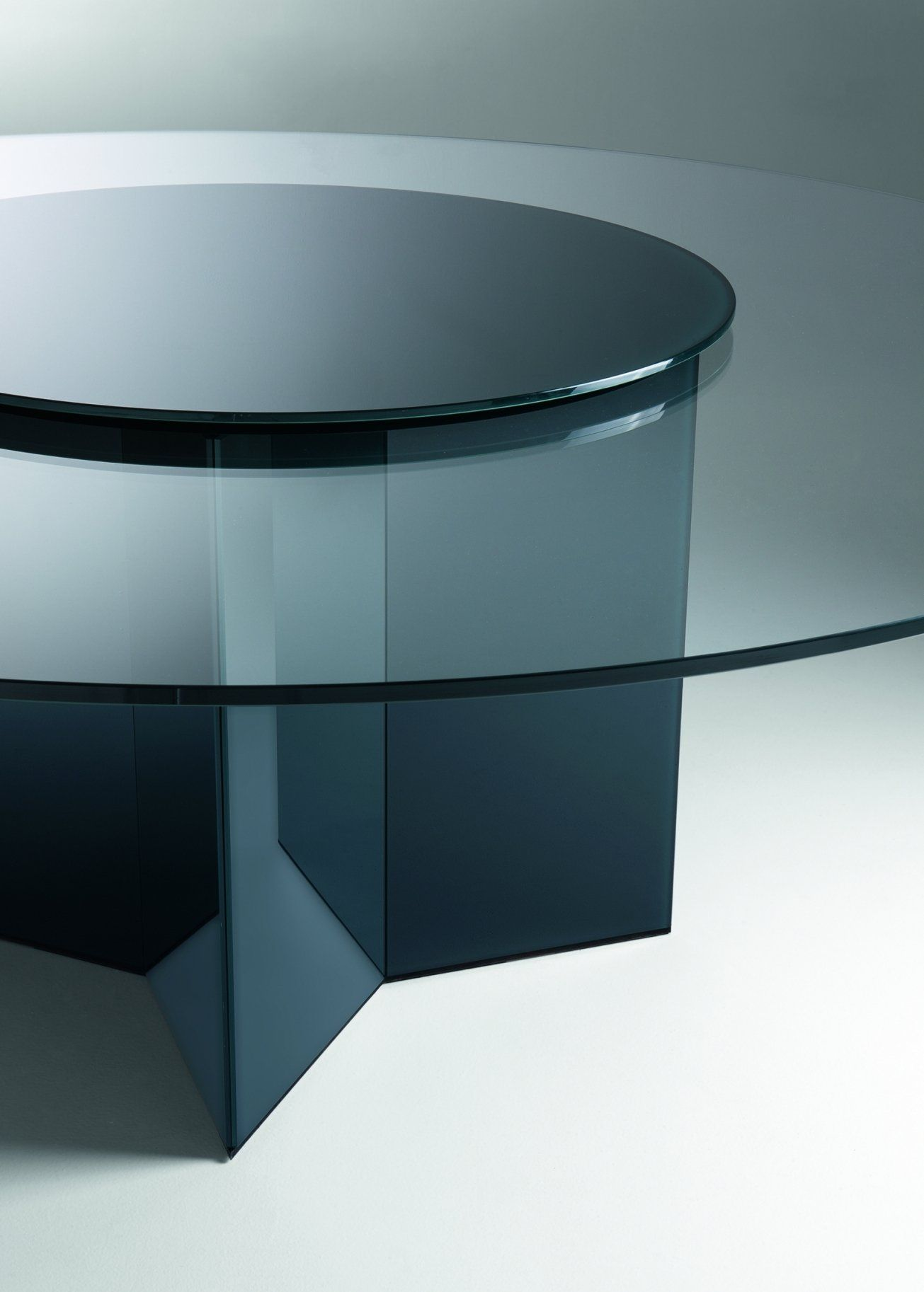 This Stunning Dining Table Has A Circular Glass Table Top With A Striking  Base. Available