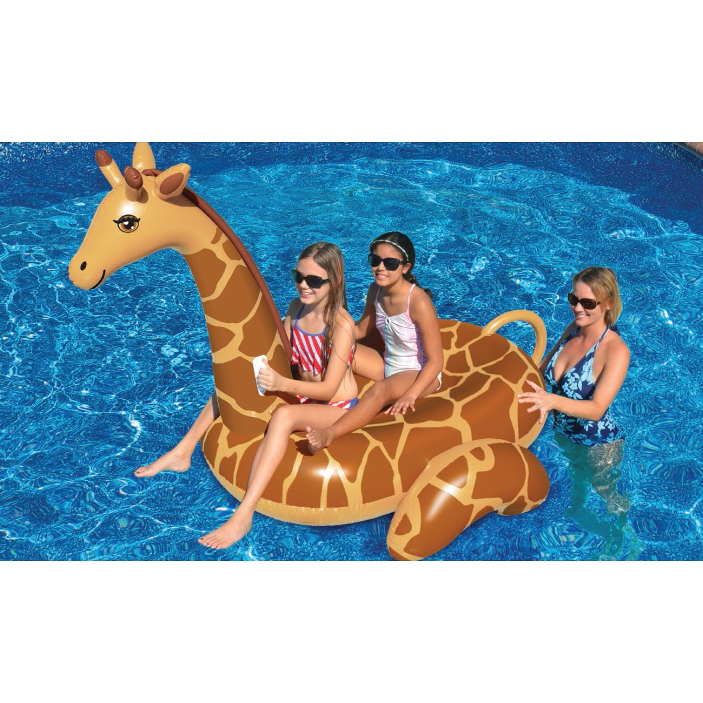 Water Sports Inflatable Giant Giraffe Swimming Pool Ride On Lounger Image 3  Of 3