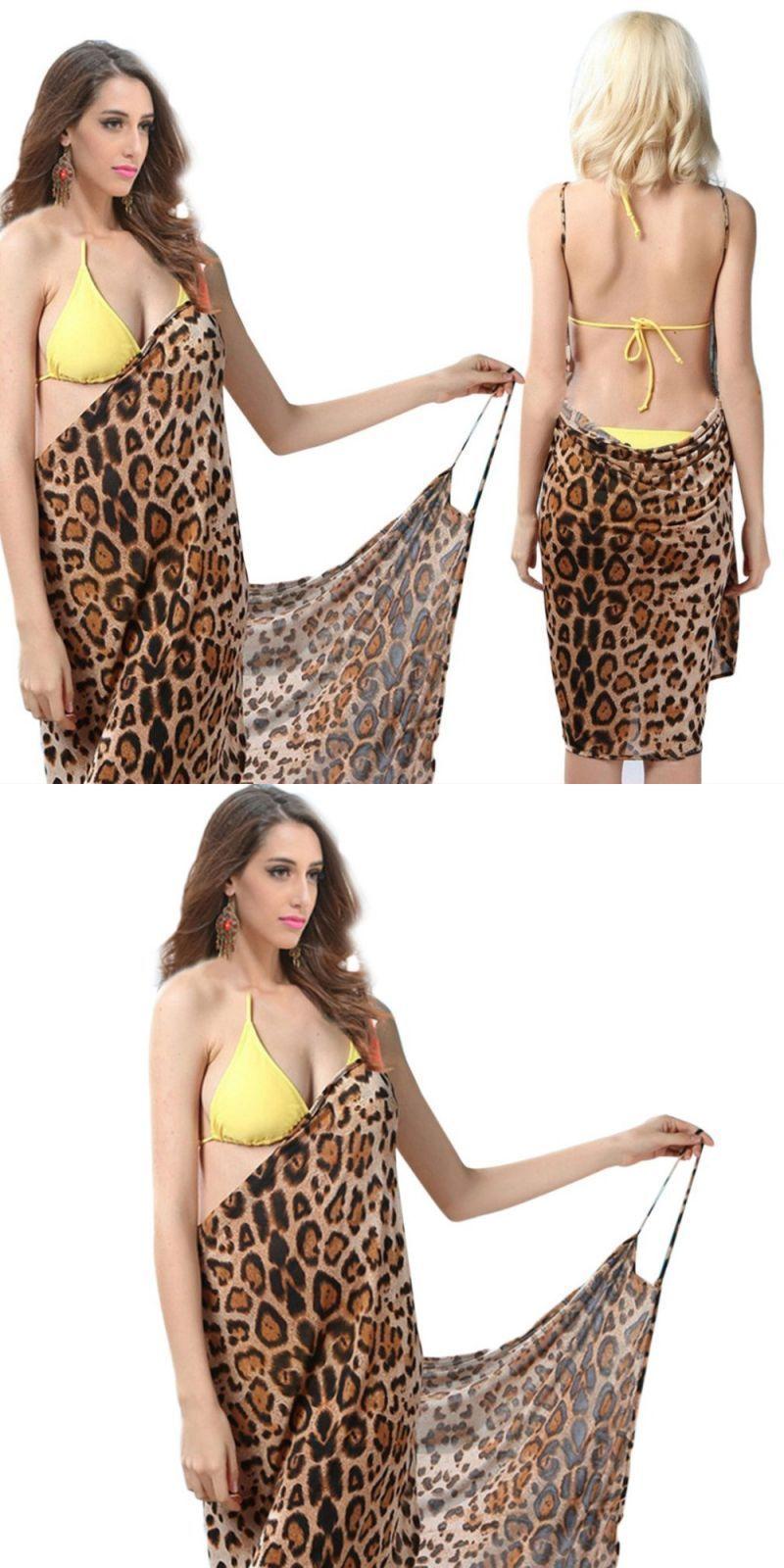 05d93fd9f4 Summer beach women backless dress female leopard printed sleeveless sexy  wrap veil dress for ladies bikini