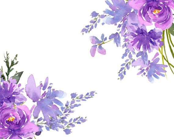 Purple Flower Designs, Watercolor Cip Art, Lavender Watercolor