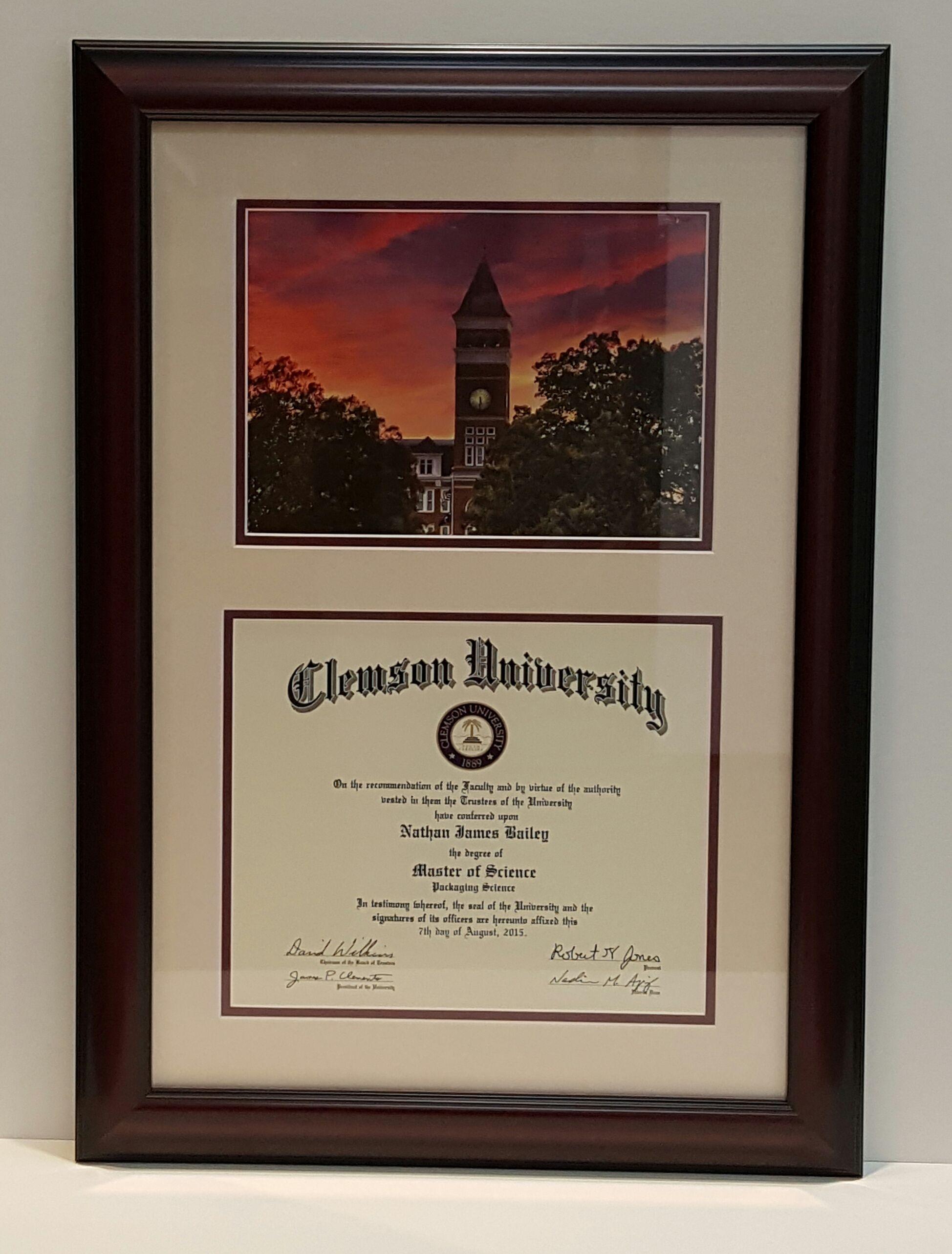 Custom framed diploma and photo of University for St. Louis resident ...