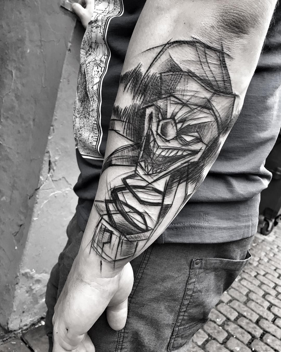 Joker Sketch Style Tattoo By Ineepine The Lines Are Irregular And