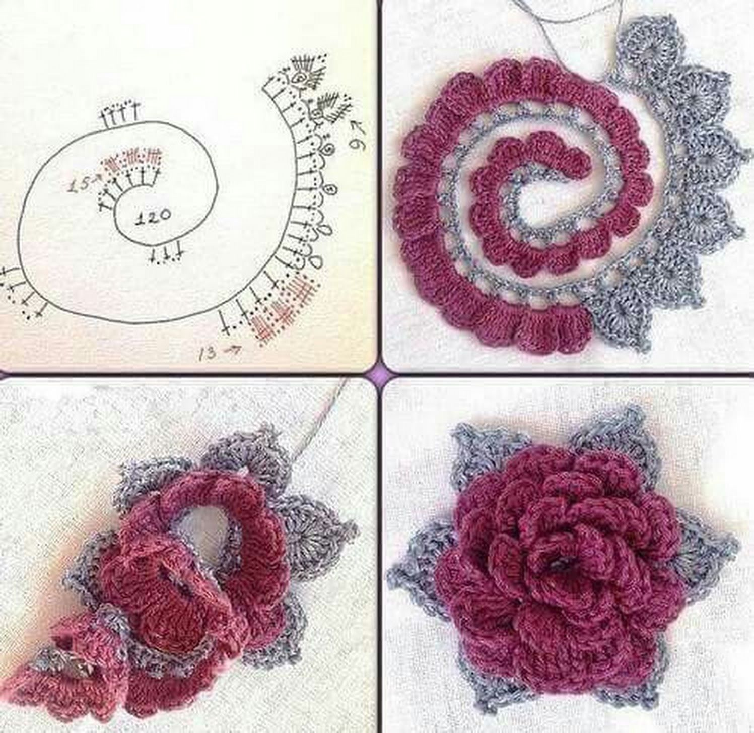 Patrón #1925: Flor con Hojas a Crochet | CTejidas | crochet ...