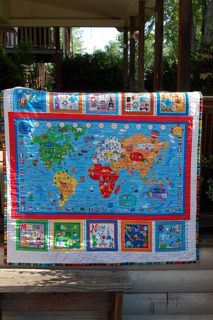 World map quilt with major int\'l cities, for World Cultures Unit ...