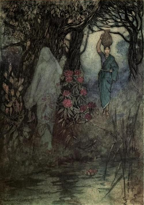 """Folk-tales of Bengal 1912Illustrations by Warwick Goble""""The Brahman's wife had occasion to go to the tank and as she went she brushed by a Sankchinni."""""""