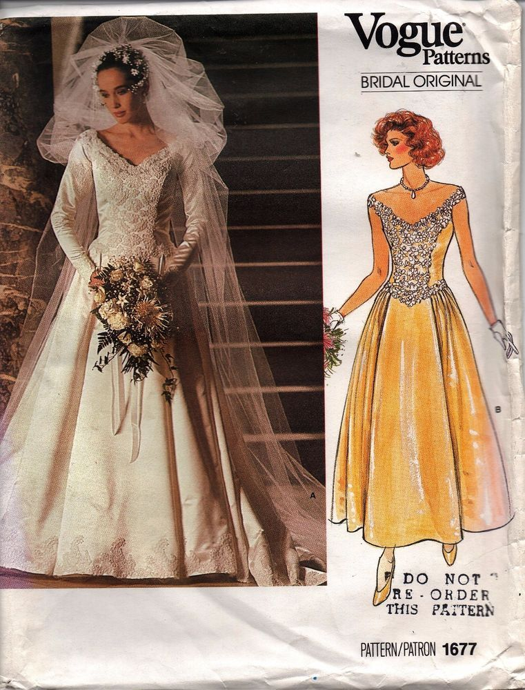 Vogue Sewing Pattern #1677 Wedding Dress Bridal Gown Bridesmaid Size ...