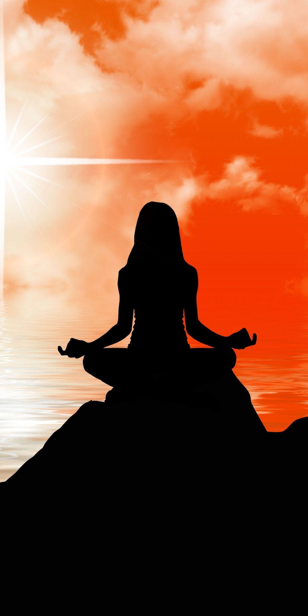 Girl Meditation Silhouette Art 1080x2160 Wallpaper Meditation Art Silhouette Painting Yoga Art