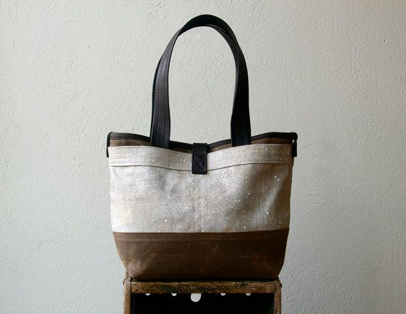 Painted Linen  1909 LITTLE TOTE    Monique's Payne's by MimsMaine, $188.00