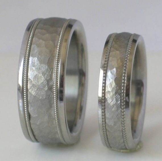 Custom Made Tungsten Wedding Band Set Hammered By Usajewelry
