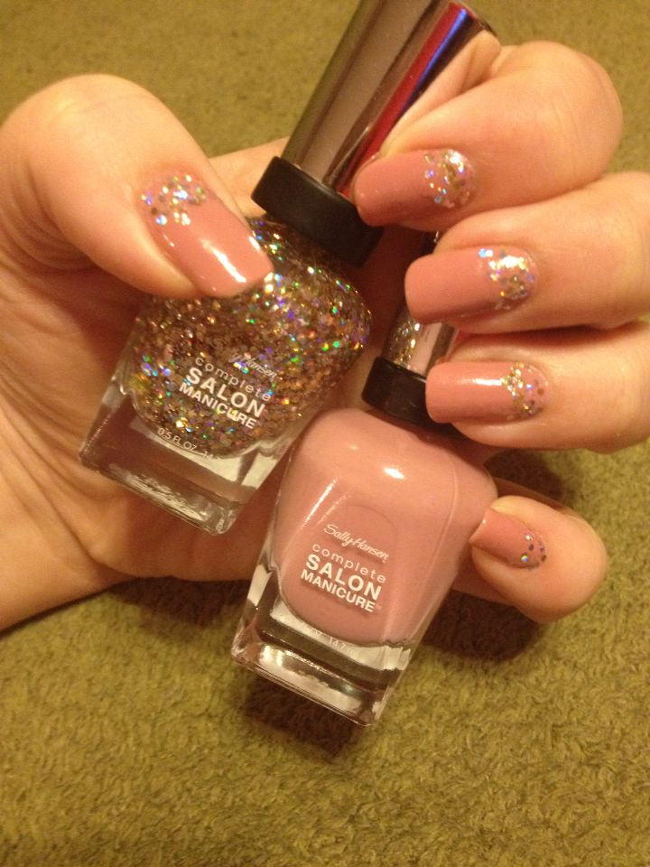 Sally Hansen manicure with Twinkle Toes-ty and Pink Pong on natural ...