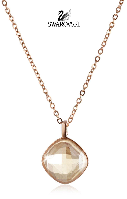 Swarovski Amber Crystal Necklace LEA PENDANT Golden Shadow ...