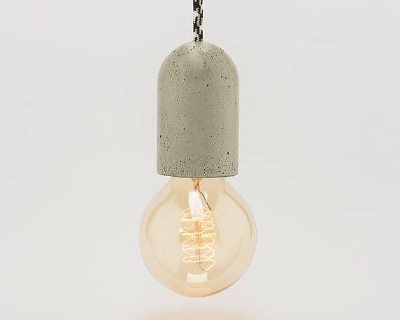 Lampada In Cemento Fai Da Te : Concrete covered socket diy lamp holder retro loft