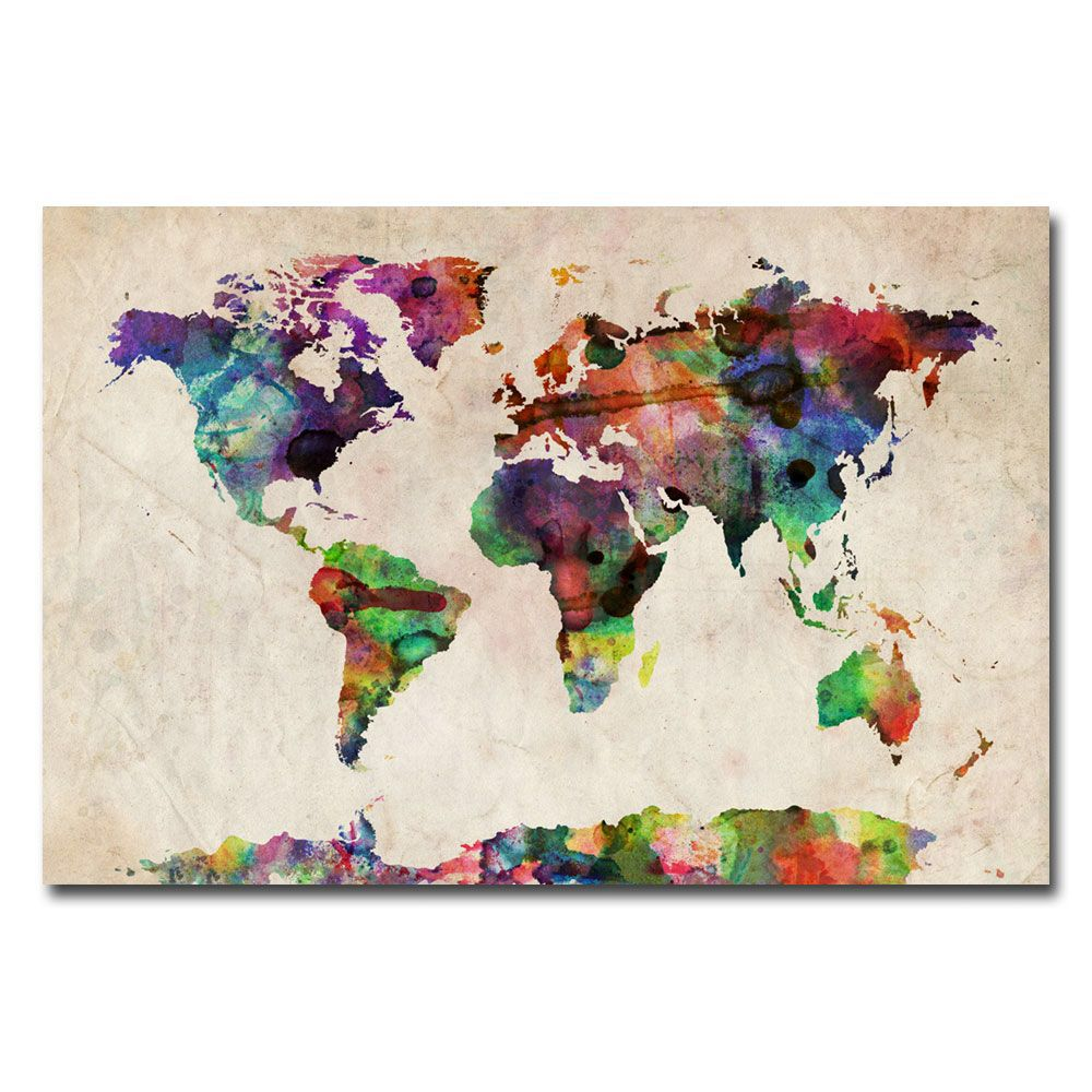 """""""Urban Watercolor World Map"""" by Michael Tompsett Graphic Print on Canvas"""
