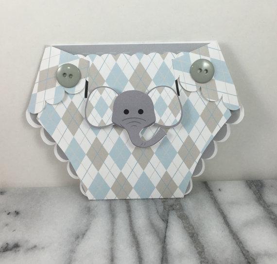 Invitation Baby Elephant Diaper Shaped Baby Shower Invites Set Of