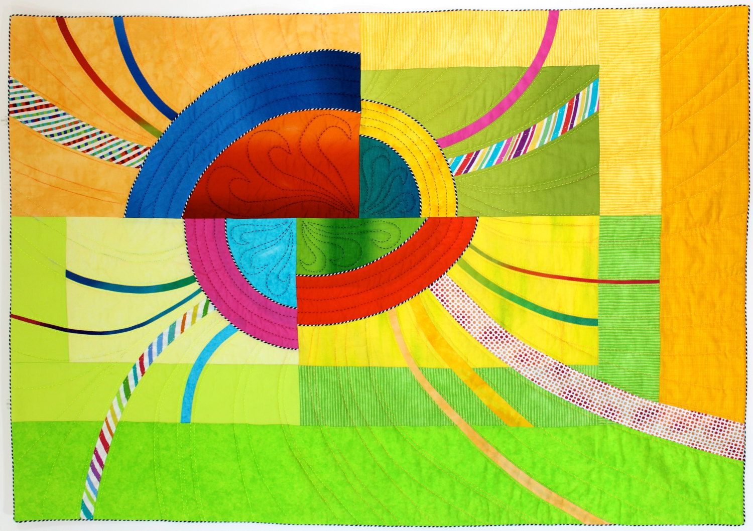 Fractured Sunrise Modern Art Quilt , Quilted Wall Hanging , Wall ...