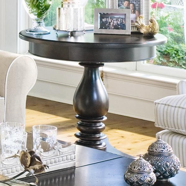 Awesome Home Round Side Table With Turned Pedestal By Paula Deen By Universal