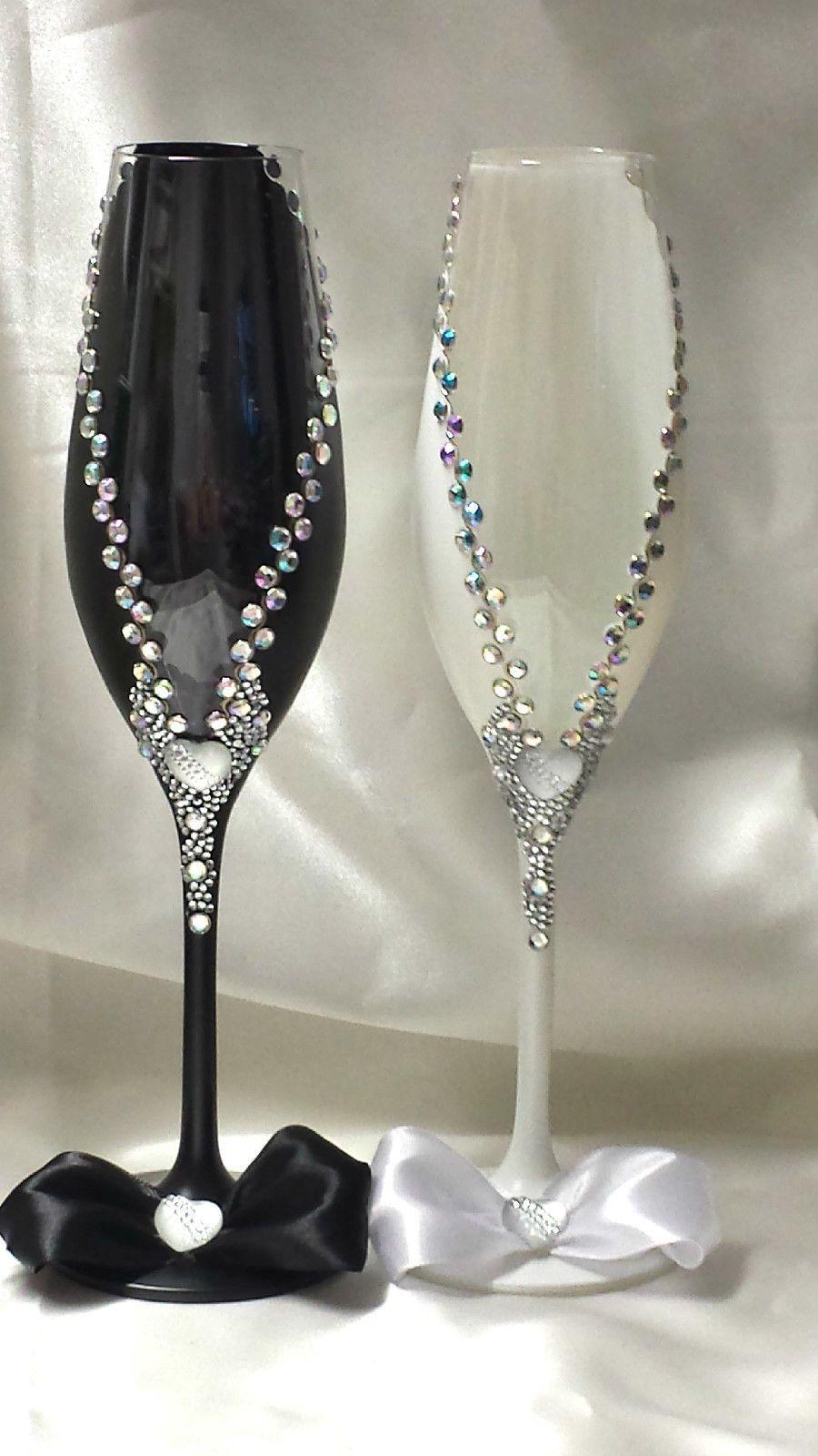 Hochzeitsglaser Sektglaser Hochzeitsgeschenk Handarbeitnr 45 Ebay
