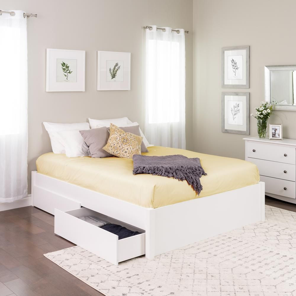 Prepac Select White Queen 4 Post Platform Bed With 2 Drawers Bed