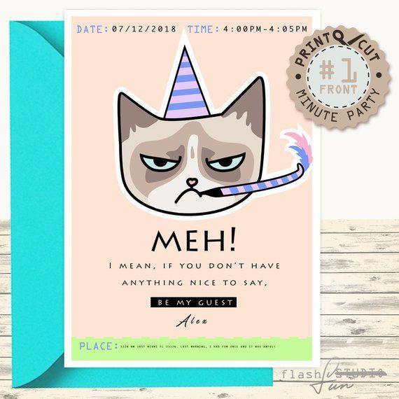 Printable Grumpy Cat Invitation Card Boyfriend Funny Surprise Birthday Party