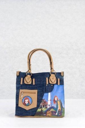 Νεανική Τσάντα ώμου χειρός από τζιν ύφασμα. Τσάντα με νεανικά μοντέρνα  σχέδια στη πρόσοψη. f74e654fdc4