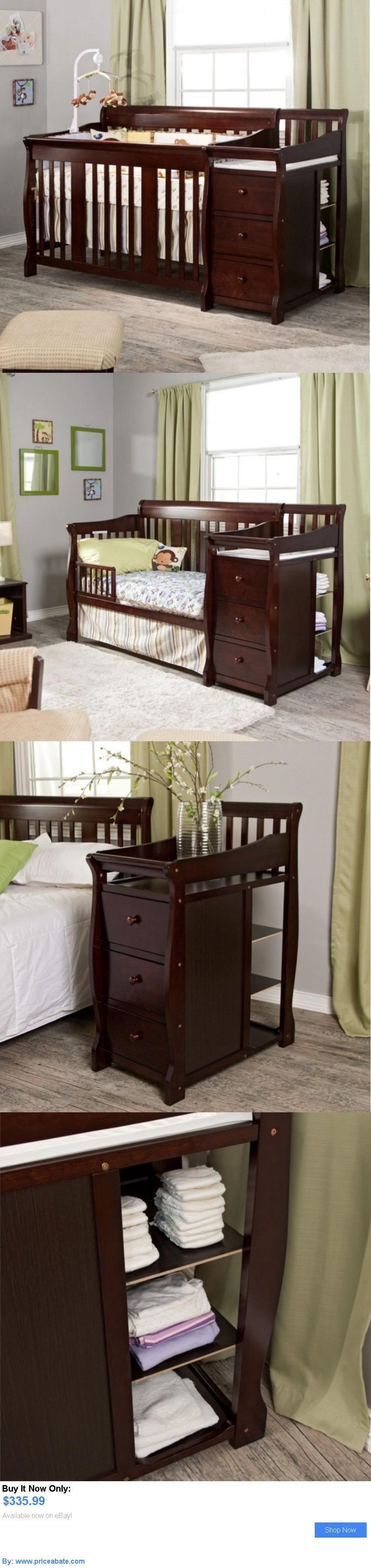 Baby Nursery: Convertible Baby Crib 4 In 1 With Changing Table Espresso  Fixed Side Toddler