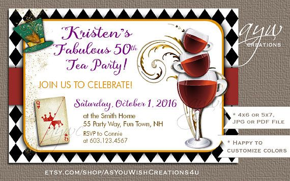 Adult Tea Party Invitations 50th Birthday