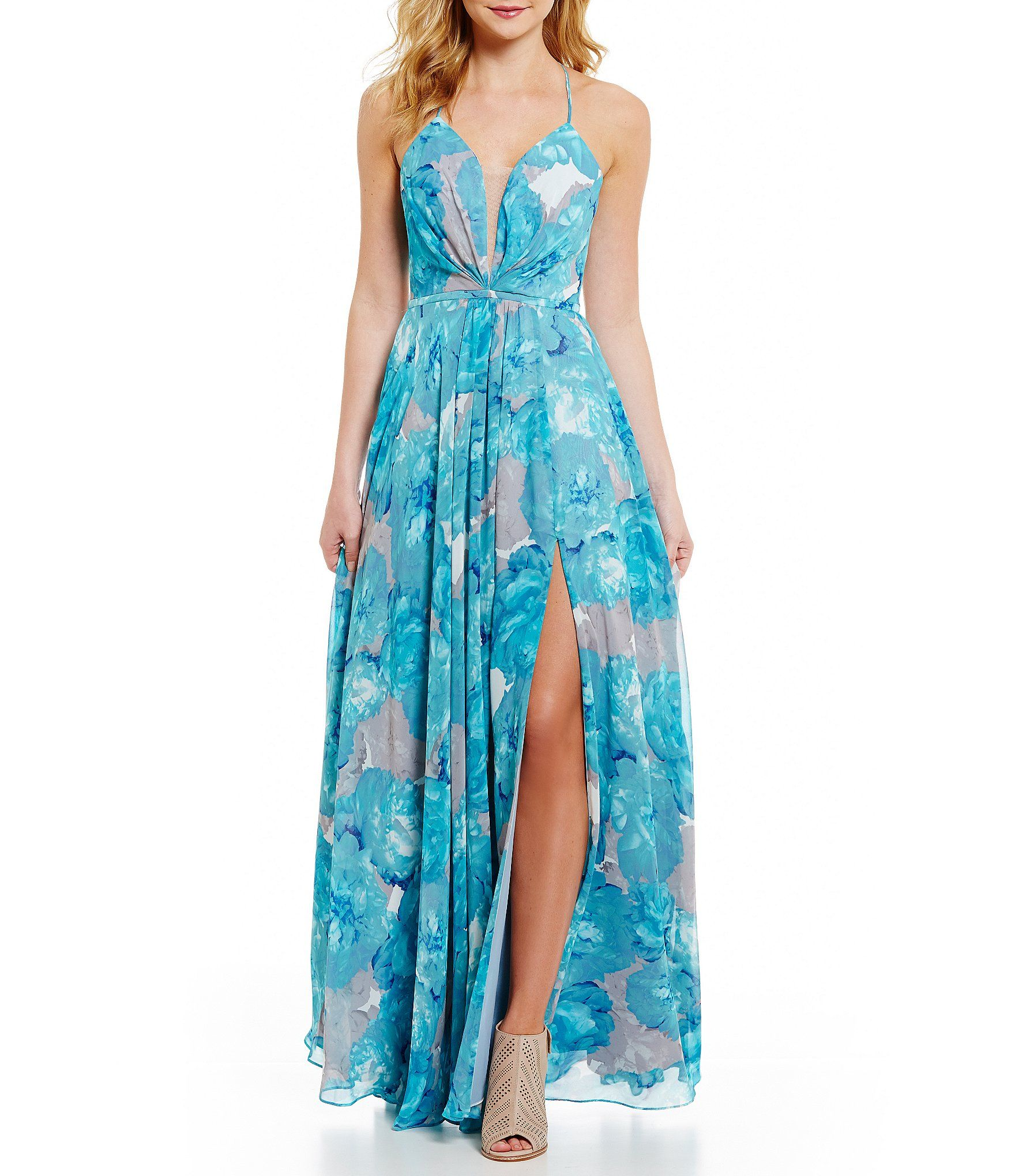 GB Social Lace-Up Back Floral Gown #Dillards | Wedding | Pinterest ...
