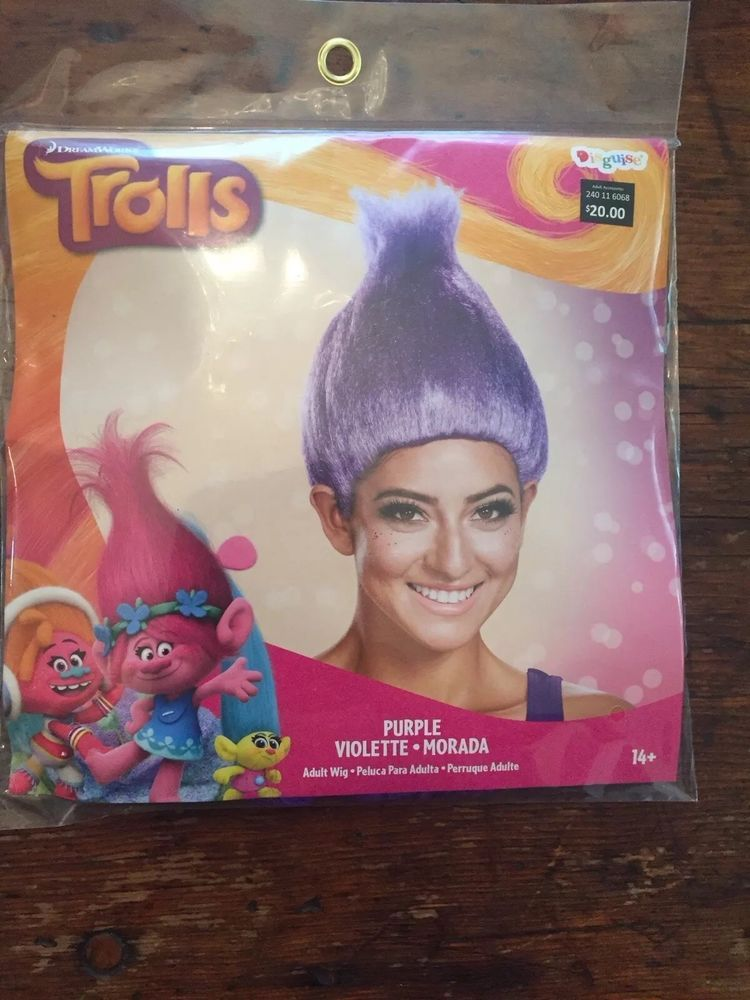 TROLLS Dream Works ~ NEW Halloween Purple Wig Costume Disguise ~ Adult 14+