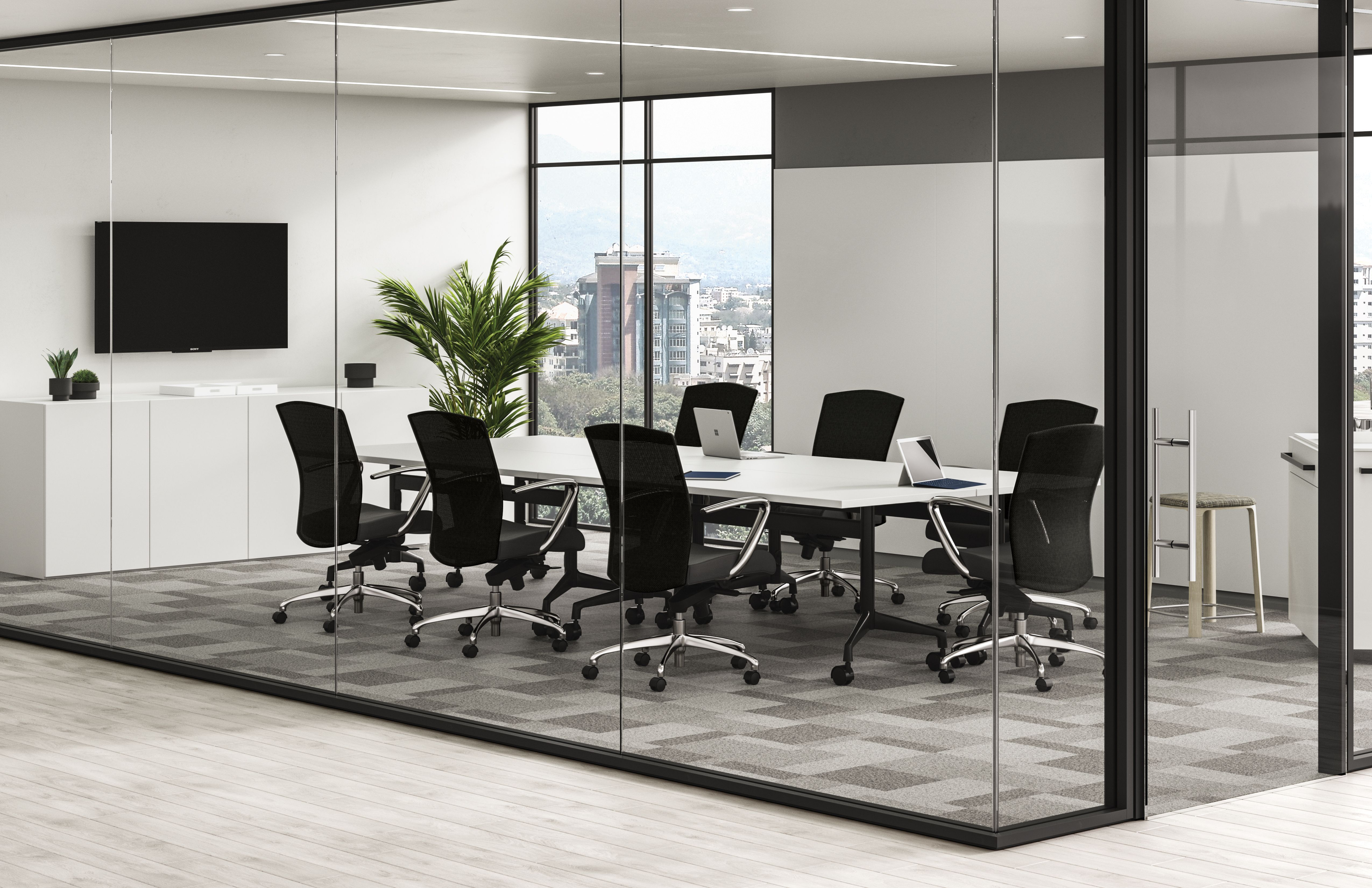 Credenza Conference Room : A conference room to gather and meet. with the connection of two