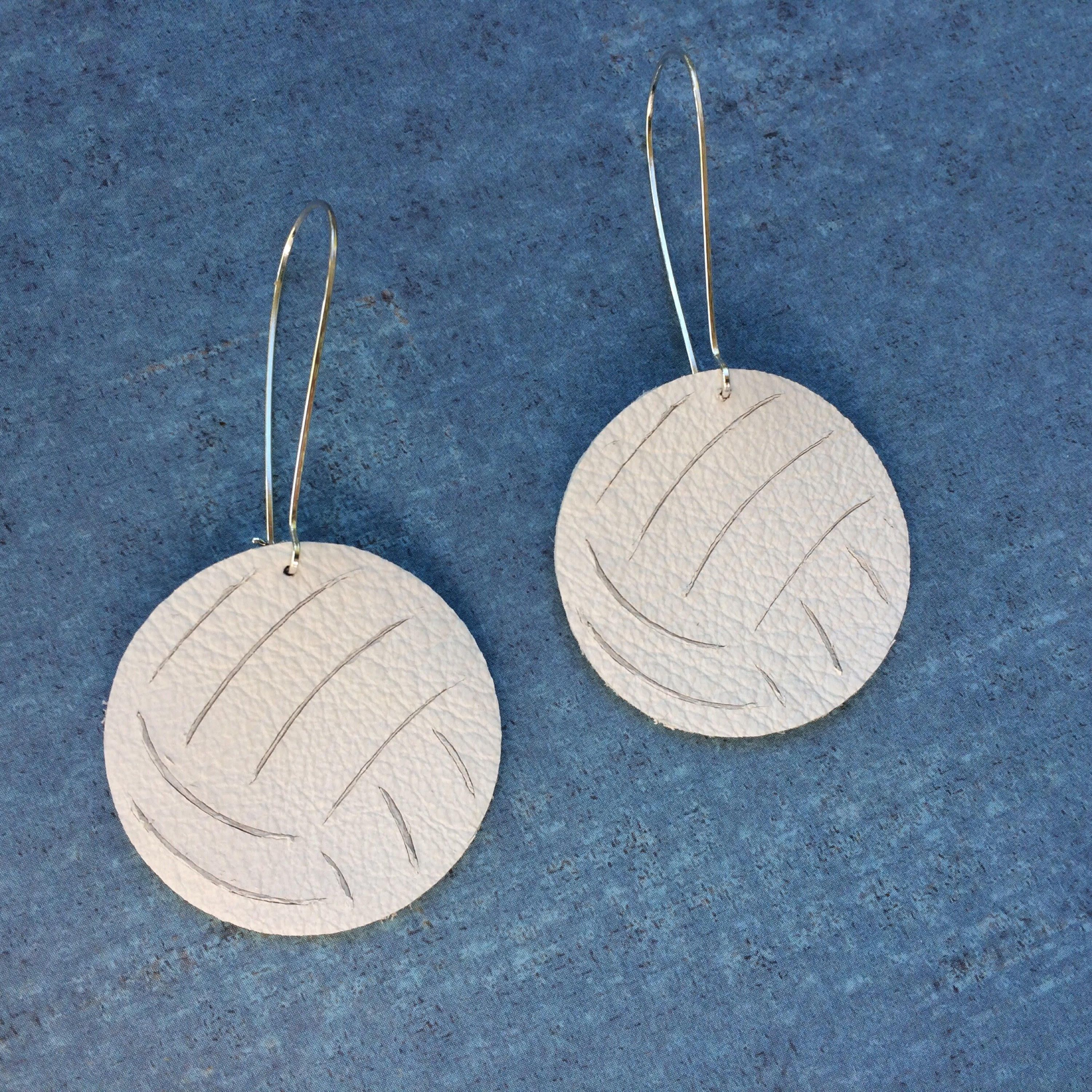 Volleyball Earrings Volleyball Leather Earrings Sports Earrings By Shopsimplydistressed On Etsy Sport Earring Leather Earrings Silhouette Jewelry