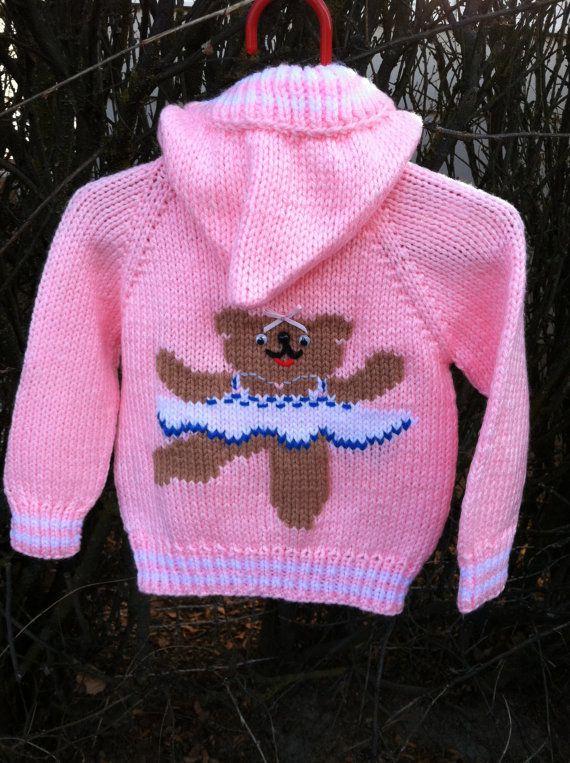 Ballerina Bear hand knit hooded baby sweater | Denenecek Projeler ...