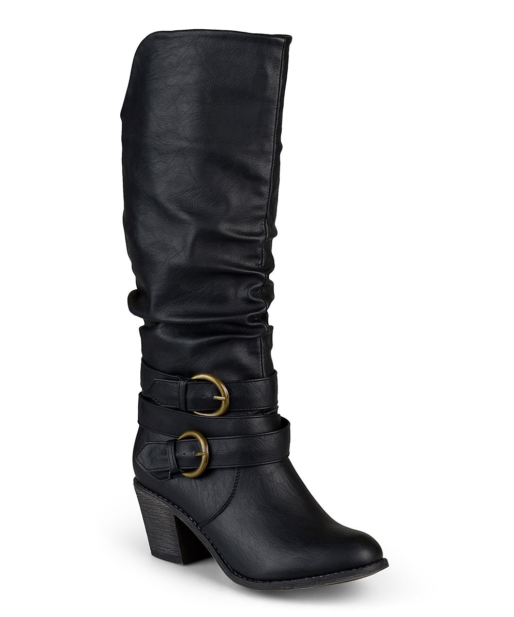 Loving this Journee Collection Black Late Wide-Calf Boot on
