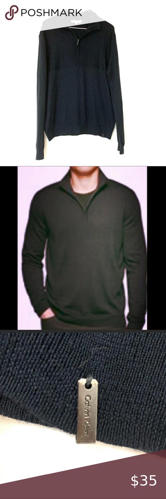 Calvin Klein Black Merino Wool Blend