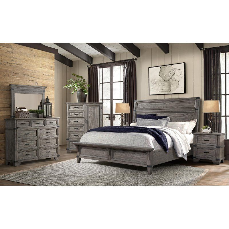 Best Pewter Gray 4 Piece Queen Bedroom Set Forge Value City Furniture Bedroom Furniture For Sale 400 x 300