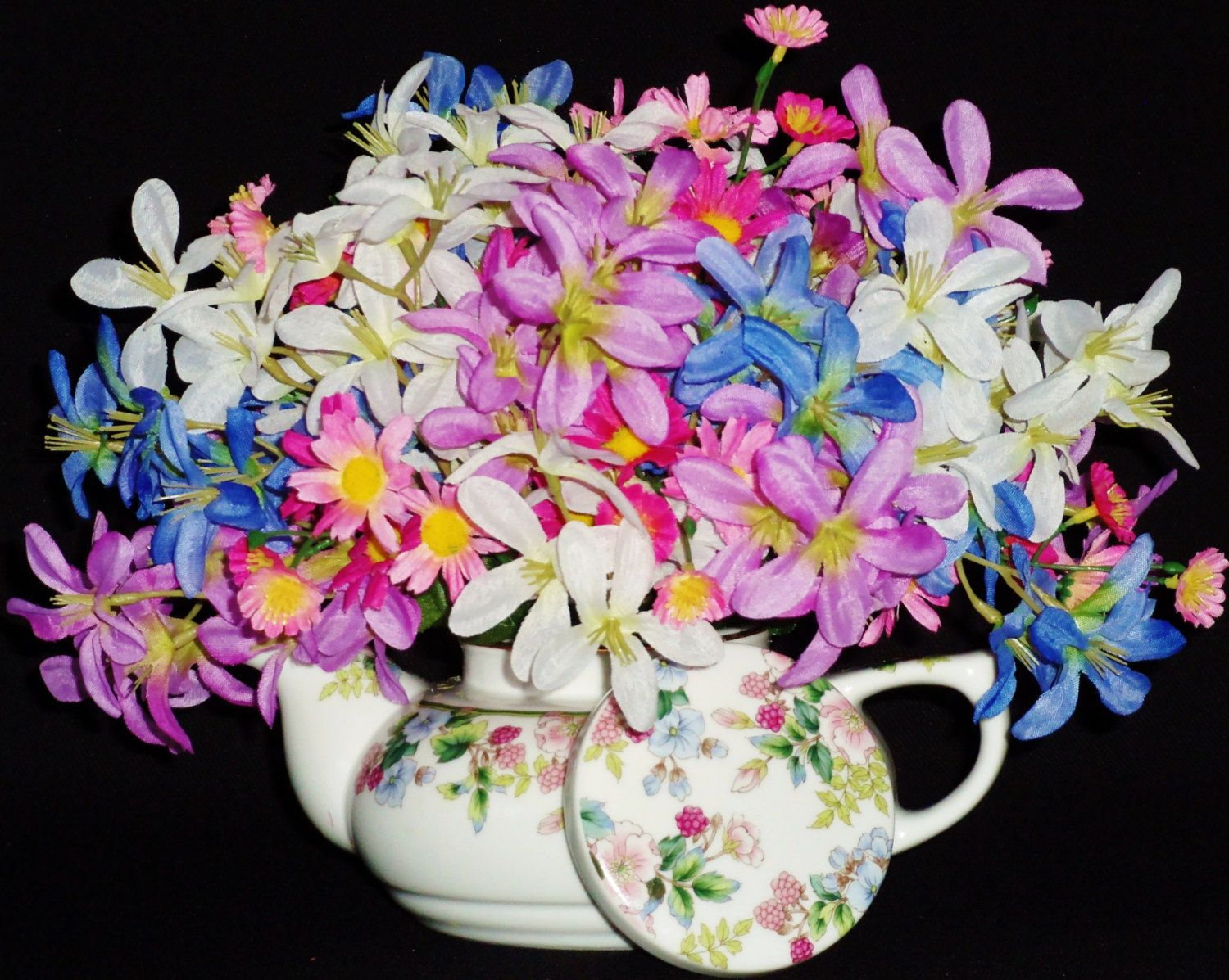 Teapot flower arrangements multi color spring flowers teapot vase teapot flower arrangements mightylinksfo