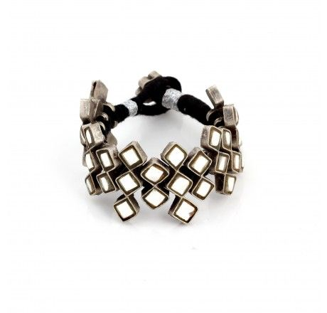 7.5 inch Ethnic Silver Bracelet made with Glass work & Black cotton thread.