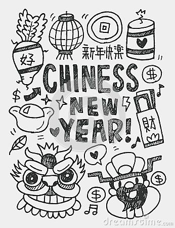 Chinese New Year Elements Doodles Hand Drawn Line Iconeps10