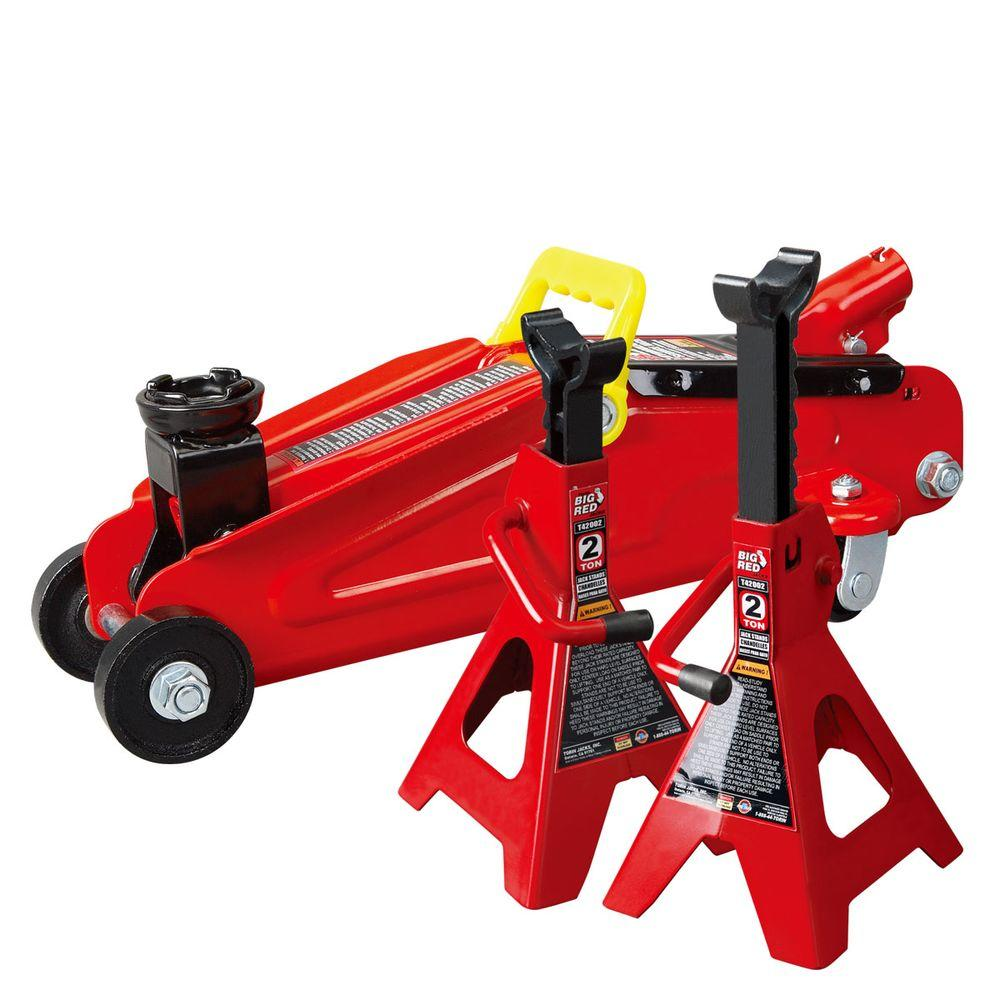 Big Red 2Ton Trolley Floor Jack with 2Ton Jack Stands