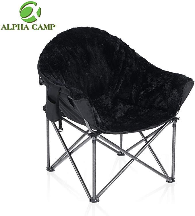 ALPHA CAMP Plush Moon Saucer Chair with Carry
