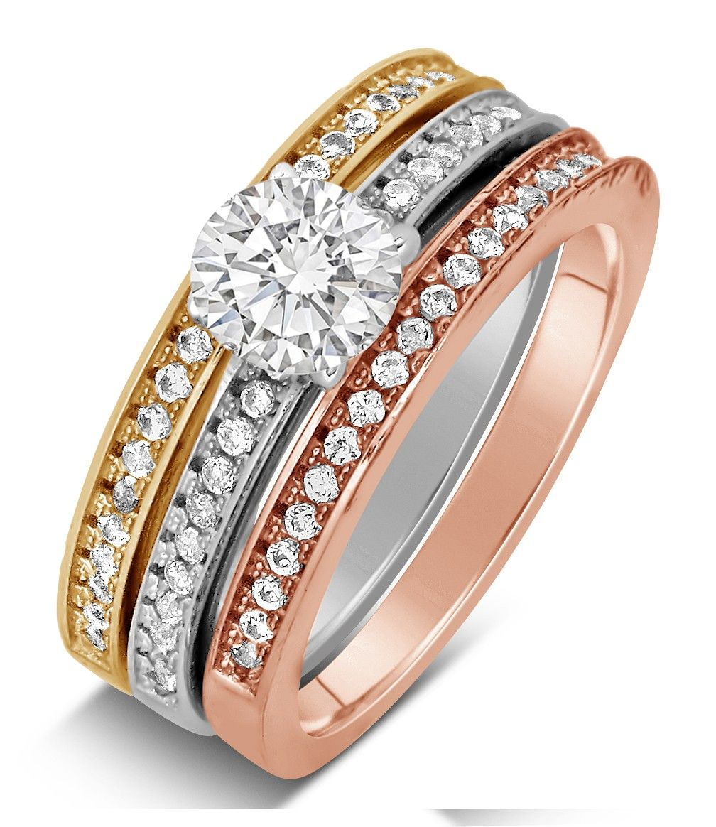 Tri Gold Wedding Ring 2 Carat Jeemjewels