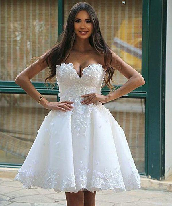 Knee Length Lace Beach Wedding Dresses 1073d3cff